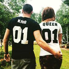 T-Shirt Couple Femme Homme Top Cadeau Saint-valentin Pour Mariage King&Queen
