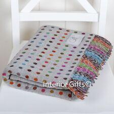 BRONTE Lambswool *STUNNING* COLOUR SPOT THROW Blanket Merino Pure New Wool GREY