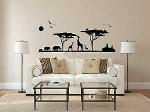 Wandtattoo Afrika GGiraffen Elefanten Vögel Affen 6 Gr. inkl. Rakel Wand W188