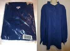 D & Co Blue Velour Shirt Jacket Size 3X Button Front Long Sleeve NEW b2