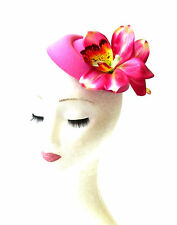 Hot Pink Orchid Flower Pillbox Hat Fascinator Headpiece Races Rockabilly 2063