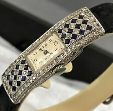 Platinum Deco Diamond & Sapphire Watch 1920's