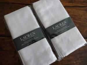 RALPH LAUREN SNOW WHITE Damask CLARENDON Cotton Blend DINNER NAPKINS 8PC
