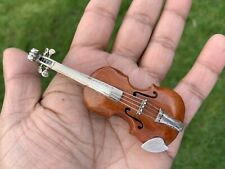 VINTAGE MINIATURE SILVER AND WOOD VIOLIN. ITALY RETRO 1970's