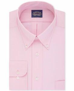 $99 Eagle Shirtmakers 18 37/38 Men Tall-Fit Pink Long-Sleeve Button Dress Shirt