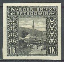 BOSNIA AND HERZEGOVINA 1906 - 1K. black PROOF-PROBEDRUCK Mi. 42U NG AS ISSUED