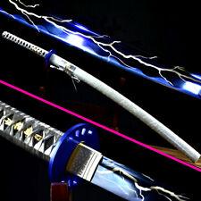 Handmade Japanese Samurai Sword Katana Blue High Carbon Steel Sharp Knife Saber