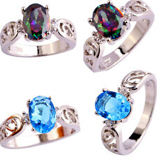 Women Men Oval Cut Jewelry Blue Rainbow Topaz Gemstone Silver Ring Size 6-12