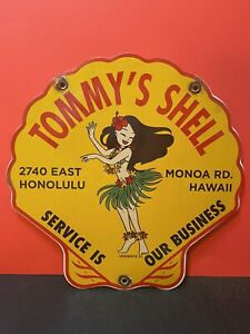 VINTAGE PORCELAIN TOMMY'S SHELL  GAS AND OIL SIGN