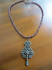 Antique Victorian/Art Deco Marcasite stones Pendant 925 sterling & Ruby necklace