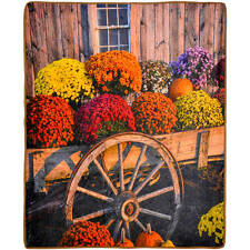 "New Silky Fleece Blanket Mum Wagon Flowers Multi Color Photo Real Throw 50""x60"""