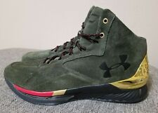 Under Armour UA Curry 1 Lux Mid Suede 1296617-330 Basketball Shoes Men's 13 New