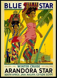 vintage print art poster cruise ship travel 1935 yellow canvas Africa  painting