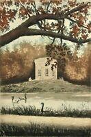 Landschaftsgarten mit Belvedere und Schwänen im Park von Versailles, Aquarell