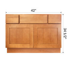 "LessCare Newport 42"" Bathroom Maple Vanity Sink Base Cabinets"