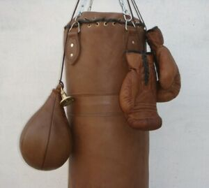 VINTAGE TAN LEATHER BOXING GYM PUNCH BAG GLOVES PUNCH BALL & FITTING - RETRO