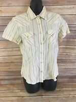 ROCKIES Pearl Snap Shirt Size Large Womens Yellow Short Sleeve Button Down top