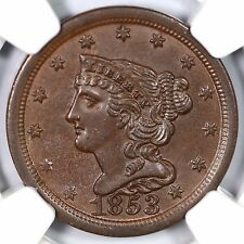 1853 C-1 NGC MS 63 BN Braided Hair Half Cent Coin 1/2c