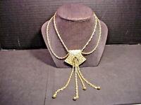 Trifari Crown Mark Vintage Necklace Double Chains Large Pendant w/ Chain Dangles
