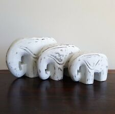 Elephants, sets of 3, animal, wood white washed, modern, stature/ornament, decor