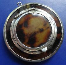 antique art deco 1923 hallmark SILVER & shell compact & pendant loop -C879