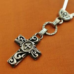 Vintage Egyptian Solid Sterling Silver Christian Cross Key Chain ...STAMPED