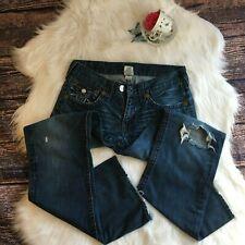 True Religion Rainbow Billy Dark Wash Destroyed Bootcut Jeans Mens 32x34 Casual