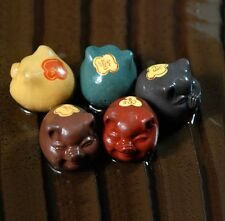 5pc China Yixing Handmade Purple Clay Colorful MiNi Pig Tea Pet