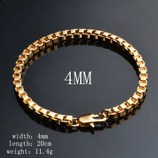 Men's 18K Gold Plated 4mm Box Chain Bracelet Fashion Jewellery Party Gift