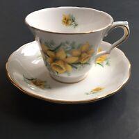 Royal Kent Bone China Tea Cup And Saucer Yellow Flowers Gold Trim England 8259