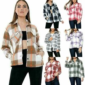 Ladies Women's Fleece Oversize Baggy Check Print Jacket Shaket Top Shirt Coat UK