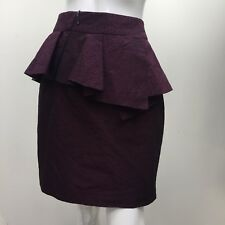 CUE In The City sz 8 Plum Purple Leopard Print Shiny Peplum Ruffle Skirt AS NEW
