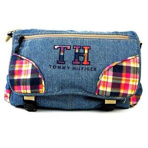 """Tommy Hilfiger Denim Messenger Bag Laptop Backpack W/Pink Plaid Accent 15""""x18"""""""
