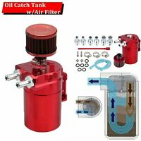 Red Aluminum Oil Catch Reservoir Breather Tank/Can w/ Filter Cylinder Engine Kit