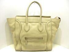 Auth CELINE Luggage Mini Shopper Ivory Leather Tote Bag
