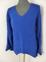 Neuer Fimfi Damen Pullover Gr S-M Blau Breite Ärmel V-Ausschnitt NEU/OVP