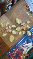 Vintage Homco Brass Copper Metal Dog Wood Leaves Set 2