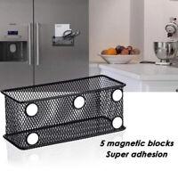 KQ_ Iron Grid Magnetic Pen Pencil Holder Square Storage Basket Home Organizer We