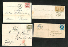 France 4 Diff. Scarce Early Empire Deutele, Ceres Stamped Covers, etc. 1865-1875