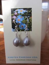 EARRINGS Pearl FW Grey Baroque Natural Classic Kirsten HandMade 925 Silver Hooks