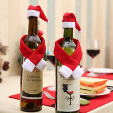 Christmas Wine Bottle Cover Hat Scarf Xmas Dinner Party Table Decor_S