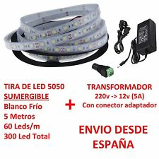 Kit Tira de Led 5050 SUMERGIBLE Blanco Frio + Transformador 5A Waterproof IP67