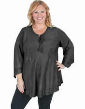 Rayon V-Neckline Solid Plus Size Tops & Blouses for Women