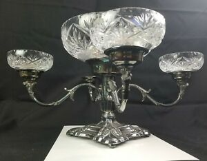 Antique Sheffield Plate Epergne With Cut Crystal Bowls