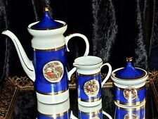 EXQUISITE VINTAGE HAND DECORATED PORCELAIN TEA / COFFEE SET GERMANY C 1960'S