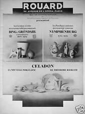 PUBLICITÉ CÉRAMIQUE ROUARD PORCELAINE CELADON - BING & GRÖNDAHL - NYMPHENBURG