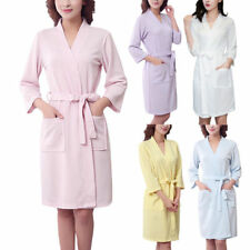 Womens Cotton Waffle Lounge Bathrobe Nightwear Lovers Kimono Short Bath Robe