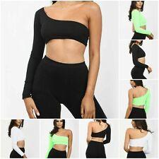 Ladies One Shoulder Long Sleeve Ribbed Clubwear Summer Ladies Party Crop Top 6