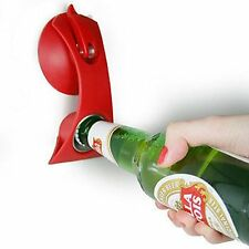 Stick-n-Flick Bottle Opener RED One Hand Opener for Fridge Bar Suction Cup fix