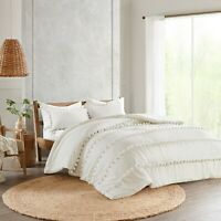Washed Cotton White Pom Pom Duvet Cover Donna Cover Bohemian Bedding Quilt Cover